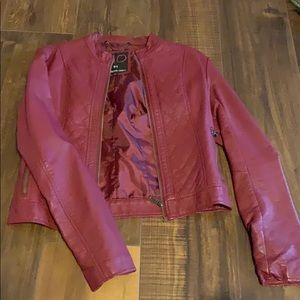 Red moto faux leather jacket! ❤️